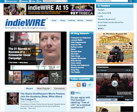 Indiewire front page